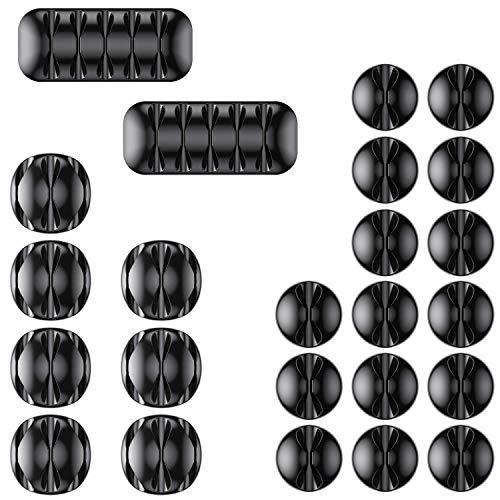 AGPTEK Kabelclips Kabelhalter 24 Stück, Vielzwecke Kabelführung Kabel Organizer Set für Schreibtisch, Netzkabel, USB Ladekabel, Ladegeräte, Audiokabel, Schwarz (Neue Version)