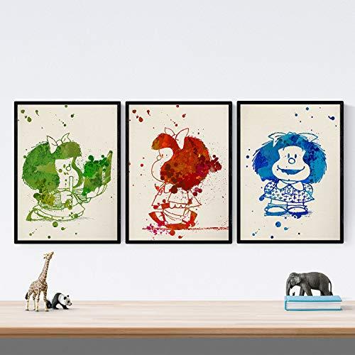 Nacnic Set de 3 láminas para enmarcar Mafalda Estilo Acuarela. Posters con imágenes de mafaldas en Tres Colores, tamaño 30x40 cm. Decoración de hogar. Papel 250 Gramos