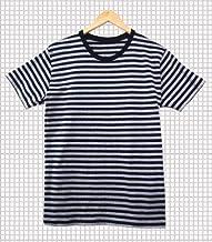 2色ボーダー定番コットンTシャツ 細ボーダーベーシック半袖Tシャツ 新品