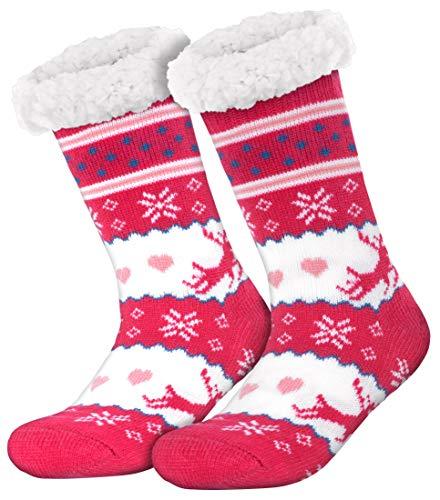 style3 Compagno warme Kuschelsocken mit ABS Anti Rutsch Sohle Wintersocken Herren Damen Socken 1 Paar Einheitsgröße, Farbe:Rentier 1 Pink