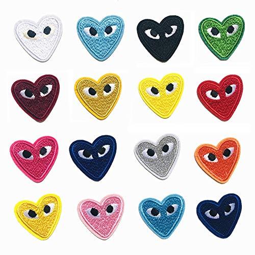 CYWQ 14 parches para planchar, diseño de corazón de dibujos animados, ojos lindos bordados apliques para mochilas, chaquetas, vaqueros, ropa, manualidades, etc.