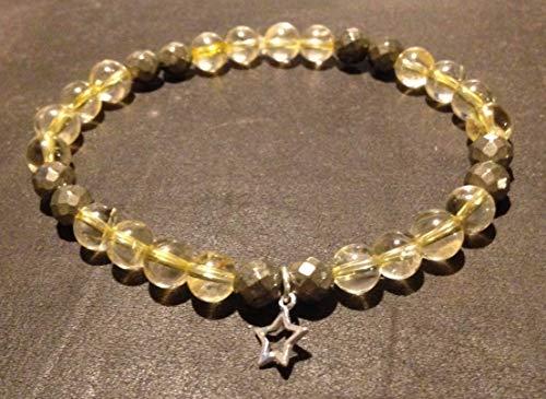 Bracelet Citrine/Pyrite/Etoile Argent 925 / Attire l'argent/Abondance/Chance/Pierre naturelle semi-précieuse/Lithothérapie