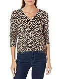 Amazon Essentials Lightweight V-Neck Sweater Pullover-Sweaters, Camel Heather Animal Print, US S (EU S - M)