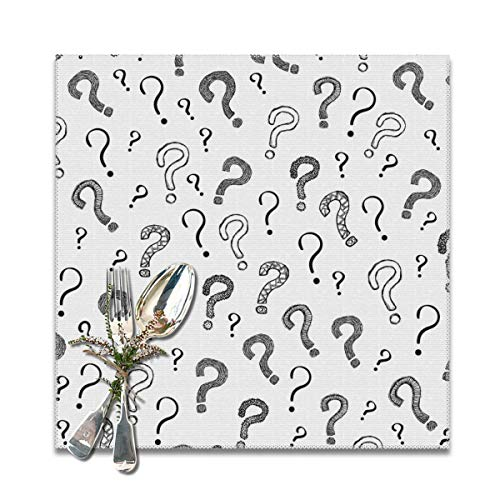 Houity Vraag Mark Patroon Achtergrond Wasbaar Zacht Voor Keuken Diner Tafel MatPlacemat, Gemakkelijk te reinigen Handige Opvouwbare Opslag Placemat 12x12 Inch Set Van 6