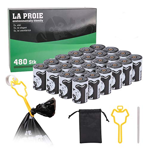 Bolsas Caca Perro Biodegradable, Bolsa de mierda ecológica elaborada con almidón de maíz, Diseño engrosado con impermeable, Resistente al desgarro - 12 Rollos
