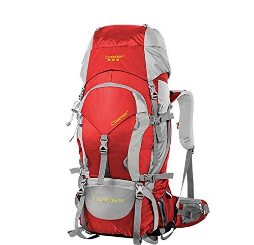 60L randonnées plein air sac à dos Pack sac à dos étanche épaule sacs pour hommes et femmes à pied Pack , red 60 litres