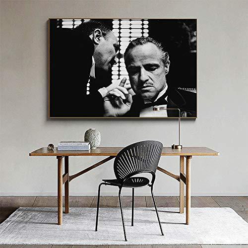 ganlanshu Wandkunstfiguren auf Leinwand zeichnen Filmpatenbilder für Wohnzimmerdekoration,Rahmenlose Malerei-50X75cm
