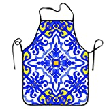 Azulejos portugueses del azulejo. Patrones sin Fisuras magníficos Azules y Blancos. Delantal con Peto Ajustable - Delantales de Cocina Lavables para Hombre/Mujer