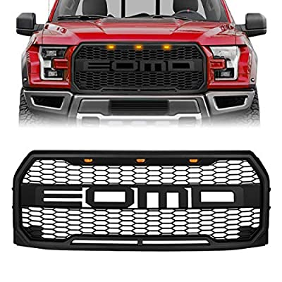 Compatible with 2015 2016 2017 Ford F150 Raptor Style Front Grill Bumper Hood Mesh Grille W/LED, Matte Black
