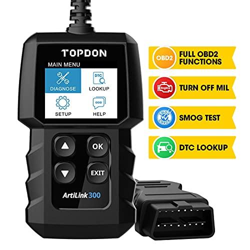 TOPDON ArtiLink AL300 Lectura y Borrado Códigos OBD2 con Funciones OBDII Completas Apaga Luz de Aviso del Motor Verificar Estado Emisiones Prueba de ITV Lee Vin Muestra Datos [ Nuevo 2020 ]