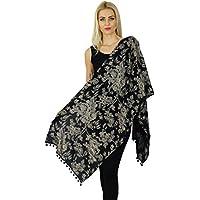 Bimba - Bufanda larga para mujer, diseño de flores Negro  Talla única