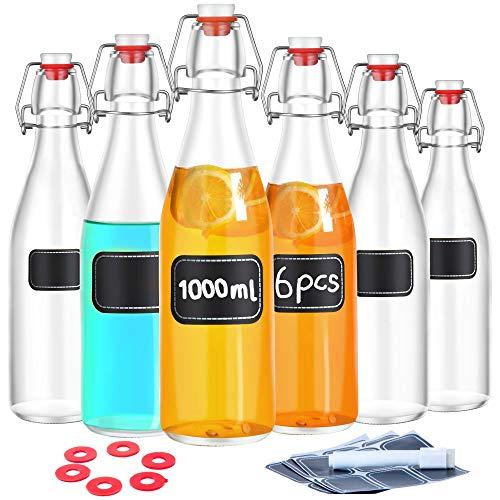 Praknu 6 Glasflaschen mit Bügelverschluss 1000ml - 6 Extra Dichtungen - 12 Etiketten mit Stift