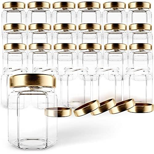 GoJars Hexagon Glass Jars 3oz Premium Food-grade. Mini Jars With Lids For Gifts, Wedding Favors, Honey, Jams And More. (24, 3oz)