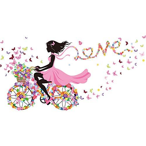 Pegatinas De Pared De Niña De Hadas De Dibujos Animados Vinilo Diy Mariposas Bicicleta Calcomanías Murales Para Habitaciones De Niños Decoración De Dormitorio De Bebé
