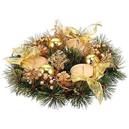 KALLORY 22Cm Tradicional Corona de Adviento Navideña Anillos de Velas Navideñas Corona con Bola Dorada Baya Y Conos de Pino Portavelas de Navidad Centro de Mesa
