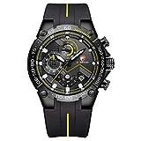 Orologio da uomo cronografo sportivo impermeabile con cinturino in silicone, data, orologio da polso al quarzo(Nero giallo)
