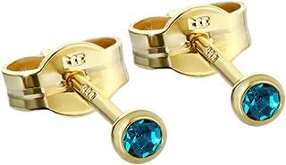 Paar Ohrstecker Gold 333er 4,50mm türkis Zirkonia Damen Herren Kinder 6600