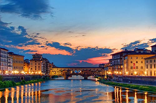 Wall Art Print on Canvas(32x21 inches)- Sunset Florence Italy Ponte Vecchio