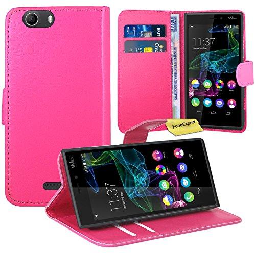 Wiko Ridge 4G Handy Tasche, FoneExpert® Wallet Hülle Flip Cover Hüllen Etui Ledertasche Lederhülle Premium Schutzhülle für Wiko Ridge 4G (Rosa)