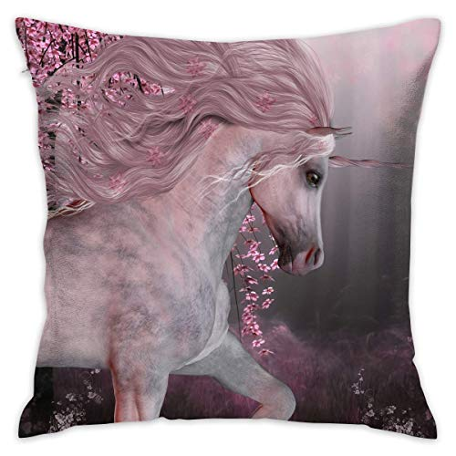 N/Q Decorative Throw Pillow Cover Unicorn Cushion Covers Pillow Cases for Sofa Bedroom Car Chair 18 X 18 Inch