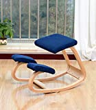 Taburete ergonómico para silla de rodillas para corrección de postura mecedora de madera, silla de ocio, para oficina, hogar, espalda, dolor de cuello (azul marino)