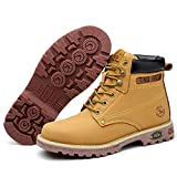 Street Running Shoes,Zapatillas de Running para Hombre y Mujer,Botas de Senderismo al Aire Libre Casuales Anti-aplastantes de protección Laboral Amarillo High Top_40#