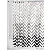 iDesign Ombre Chevron Textil Duschvorhang | 183 cm x 183 cm Vorhang aus Stoff mit Zickzackmuster | leicht zu pflegene Duschabtrennung für Badewanne & Duschwanne | Polyester grau
