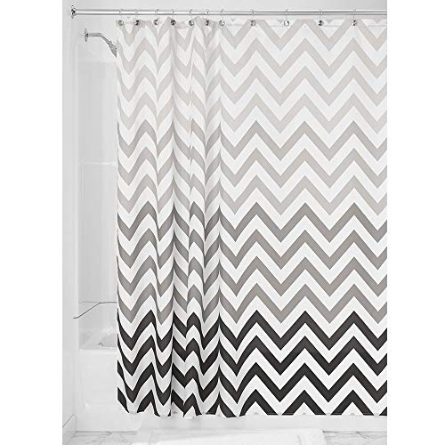 Price comparison product image iDesign Ombre Chevron Fabric Shower Curtain,  Long Polyester Shower Screen with Chevron Pattern Design,  Grey