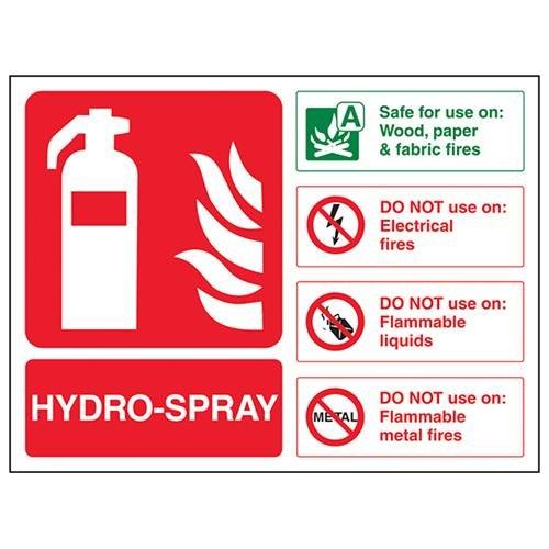 VSafety Hydro Spray Id Brandblusser - 200mm x 150mm - 1mm Rigid Plastic