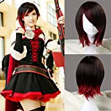 JOMICO Ruby Rose Cosplay Synthetic Wigs for Women Red Mixed Color 2 Tone Short Bob Synthetic Wigs Halloween Carnival Anime Cosplay Wigs for RWBY