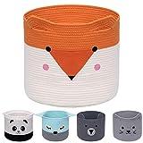 AXHOP Faltbarer Wäschekorb aus Baumwollseil, Spielzeugkorb Aufbewahrungskörbe für Kinder, Kleidung, Raumdekor, niedlicher Tier-Wäschekorb, Haustier-Geschenkkorb für Katze, H&, Orange Fuchs