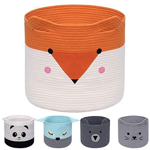 AXHOP Foldable Cotton Rope Laundry Basket, Toy Basket Storage Baskets for Kids, Clothes, Room Décor. Cute Animal Laundry Hamper, Pet Gift Basket for Cat, Dog-Orange Fox