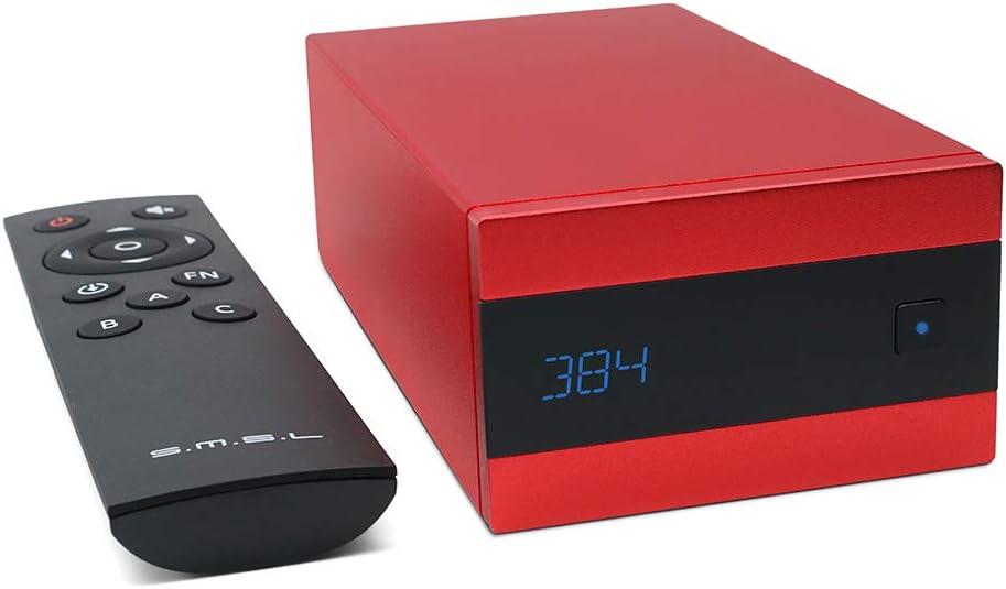 SMSL Sanskrit 10th HiFi DAC USB AK4493 XMOS Chips 32bit/384KHZ D5D256 Optical Coaxial Mini Decoder with Remote Control(Red)