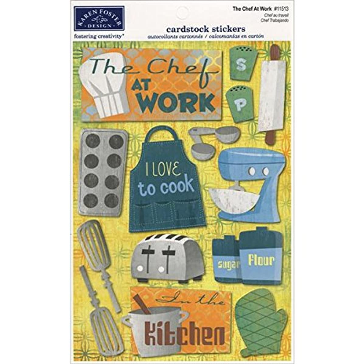 KAREN FOSTER Design Acid and Lignin Free Scrapbooking Sticker Sheet, The Chef at Work