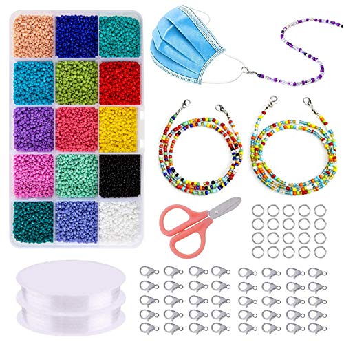 Migaven Jewelry Making Kit, Jewelry Making Starter Gift Set with Jewelry Beads Findings Scissor Lobster Clasps Beading Wire for DIY Bracelet Necklace Earrings Eyeglasses Sunglasses Face Mask Lanyard