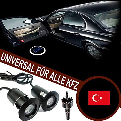 VAWAR Autotür Logo Licht, Nationale Fahne - Türkiye Cumhuriyeti/Turkey, 12V LED Projektor, National flag, Ghost Shadow Willkommen Einstiegsbeleuchtung, universal for Alle KFZ