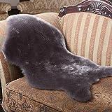 #Wohnzimmer Teppich Elfenbein Weiß XL Neuseeland Echtes natürliches Schaffellteppich Matten ( Farbe : Grau , größe : 80*135cm whole )