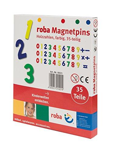 roba Magnetzahlen, Zahlen & Zeichen Set 35tlg, Magnetpins aus Holz, Schul-Spielzeug für Kinder