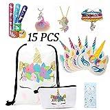 Tooplab Pack de 15 Regalos de Unicornio para niñas Navidad Christmas Carnaval, Mochila con cordón Bags/Maquillaje Bolsa/Collar Aleación Cadena/máscara de Unicornio/Llavera/Pulsera