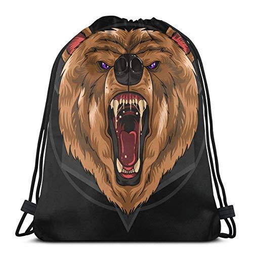 NA Féroce Ours Grizzly Sac à dos avec cordon de serrage pour femmes et hommes Sport Gym Sac Imprimé Cordon de serrage Sacs à dos Sacs