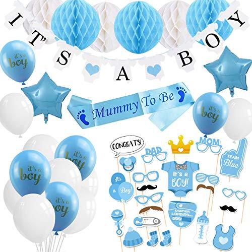 YIMAKJ Babyparty Deko Junge, Babyshower Boy Dekoration - It's A Boy Girlande, Fotorequisiten Masken und Luftballons für Jungs