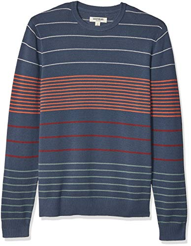 Goodthreads Men's Soft Cotton Multi-Color Striped Crewneck Sweater, Navy Desert, Medium Tall