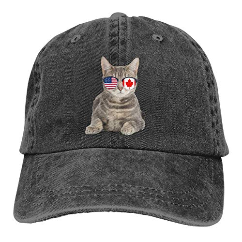 PhqonGoodThing American Canadian Flat Cat Sunglasses Baseball Cap Unisex Distressed Hats Adjustable Plain Cap