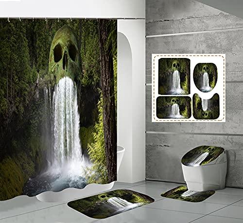 CQFFCG Juego de alfombras de baño 4 Piezas de baño de Serie de Halloween con Cortinas de Ducha Alfombrillas de baño Antideslizantes Impermeables Conjuntos (Forma 29)