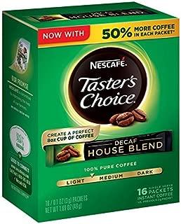 Nescafé, Taster's Choice, Instant Coffee, Decaf House Blend, 16 Single Serve Packets, 15Pack 0.1 oz (3 g) Each Cmkswl