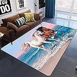Shooyoo Créateur The,Rug Tapis de Designer Moderne 3D Cheval Bchome Salon Chambre Surdimensionné Antidérapant Lavable Plancher Tapis De Yoga À La Maison Décor P6292-150X220cm