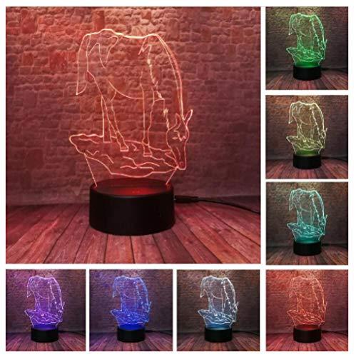 3D LED Luz de noche LED Ilusión óptica Lámpara de mesa 7 colores con Acrílico Plano & ABS Base & usb [Clase de eficiencia energética A] Hermoso lindo unicornio-Touch+Remote