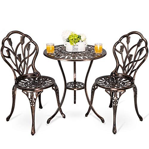 HOMEFUN Bistro Table Set, Outdoor Patio Set 3 Piece Table and Chairs, Tulip Carving and Weather Resistant-Antique Bronze