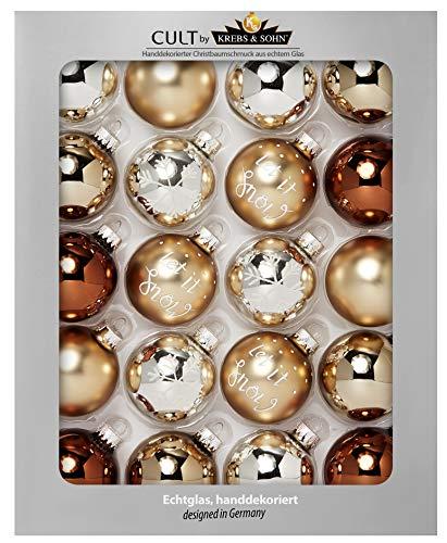 Heitmann Deco Krebs & Sohn Set di 20 Palline di Natale in Vetro - Albero di Natale Deco Appeso - Palle di Natale 5,7 cm - Marrone Argento Oro