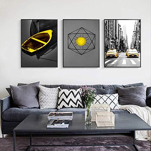 XCSMWJA Modern City Landscape Poster Schwarz Gelb Taxi Boot Wandkunst Leinwand Malerei Abstract Print Dekoratives Bild Für Wohnzimmer 2
